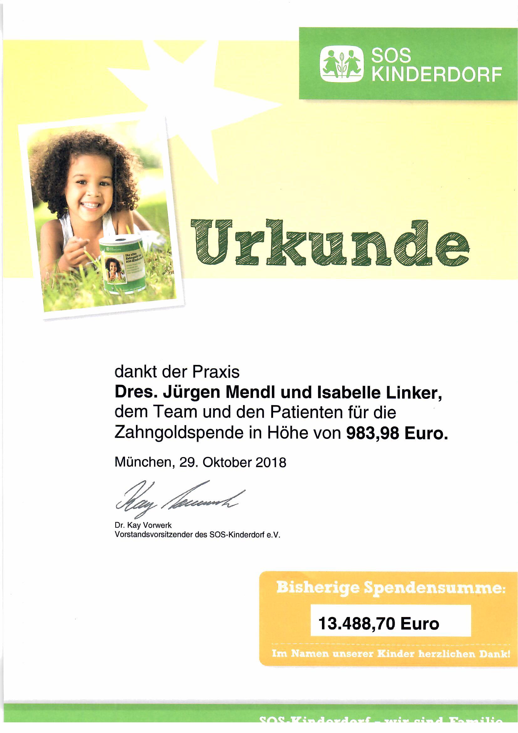 20190105 Urkunde SOS-Kinderdorf Spende Zahngold Dr. Linker