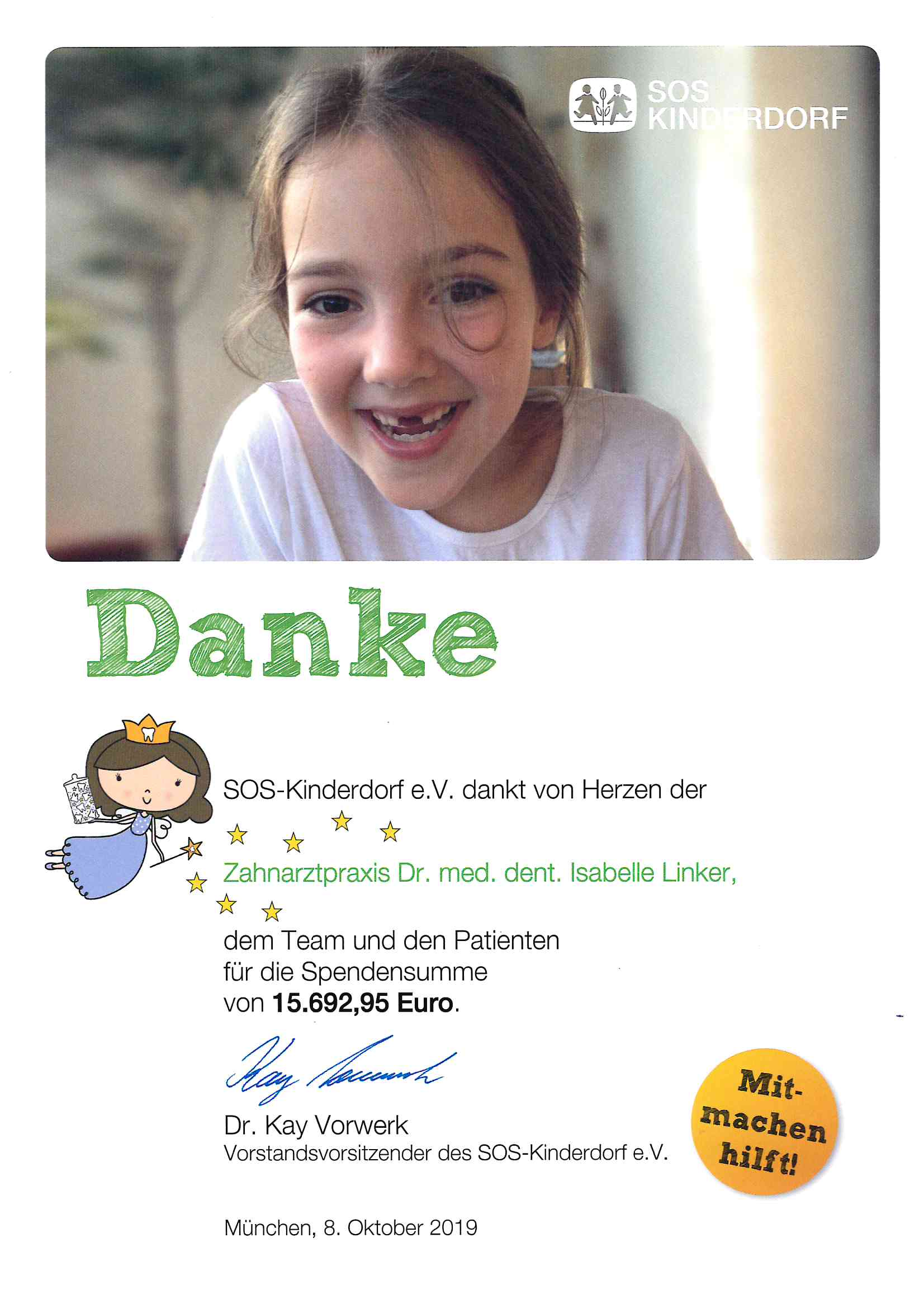 SOS-Kinderdorf-Spendensumme 2019